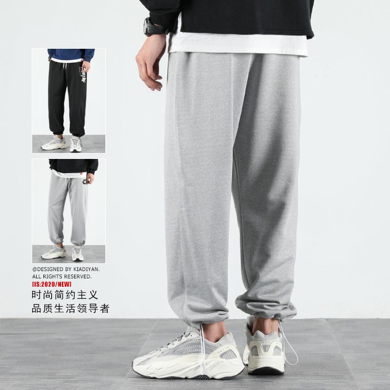 运动裤男宽松裤子灯笼束脚休闲长裤夏季百搭篮球直筒工装灰色卫裤