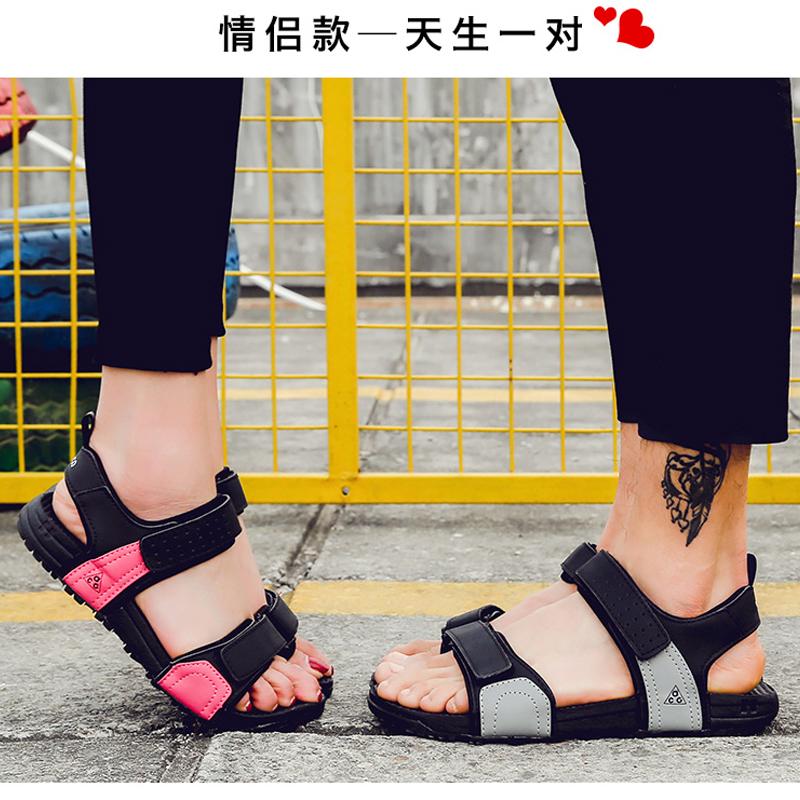 涼鞋男士皮學生情侶女韓版休閒潮拖2019夏季新款越南黑色沙灘鞋