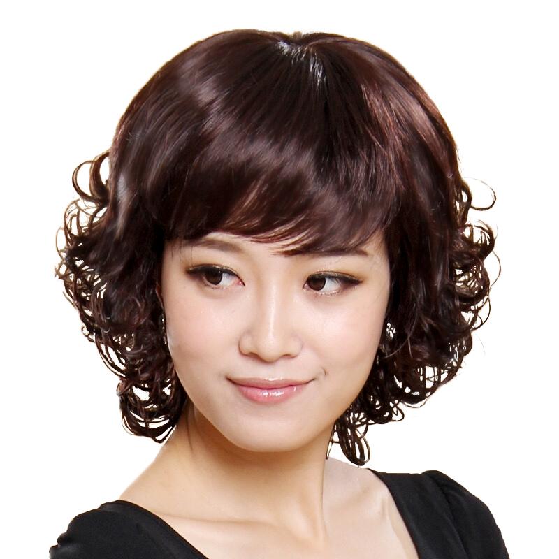 真人假发女短发短卷中长卷外翻自然中老年妈妈时尚女士逼