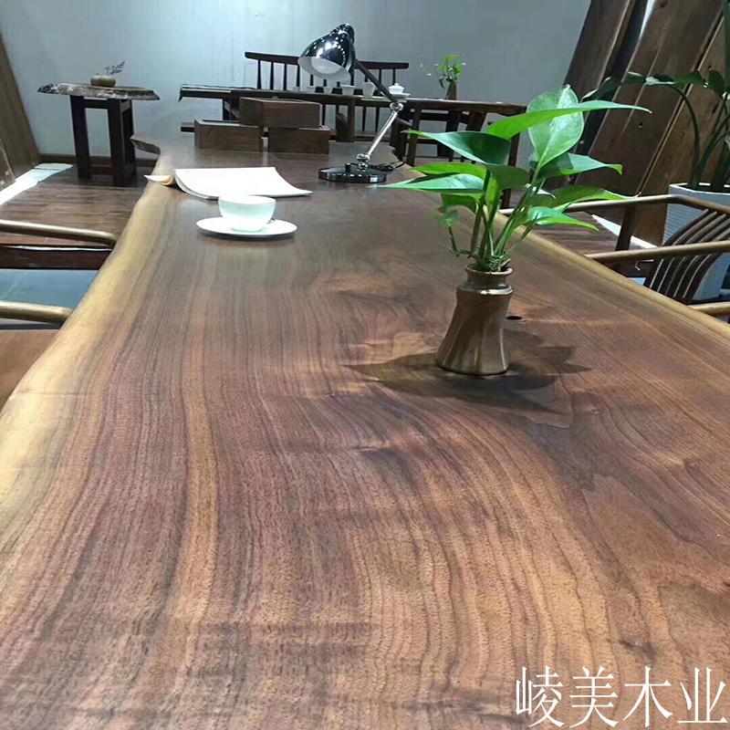 北美黑胡桃原木设计师会议吧台简约绘画办公工作室茶几书餐大板桌