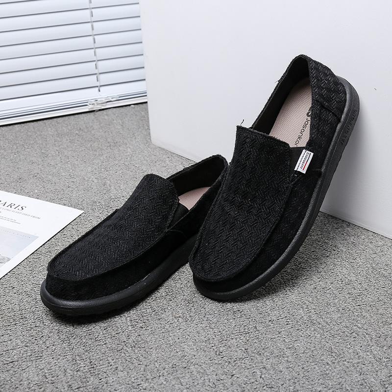 Jason Kong帆布鞋男鞋低幫鞋子板鞋男春休閒鞋一腳套懶人布鞋