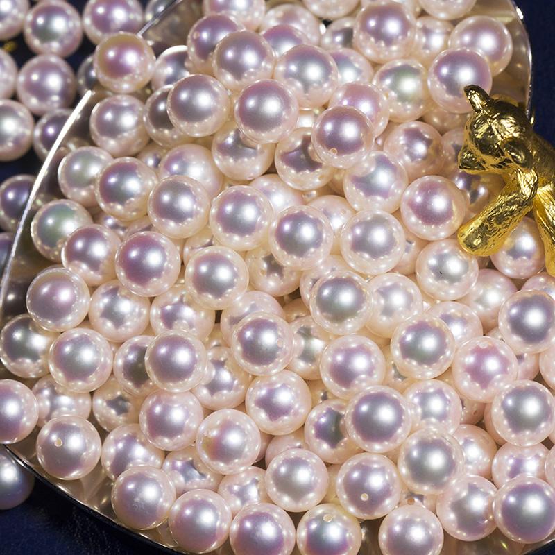 九月港展 特选高品质花珠Akoya海水珍珠裸珠单颗散珠正圆吊坠珍珠