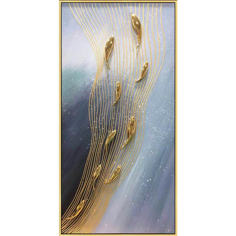 实物金色九鱼图油画纯手绘简约现代新中式轻奢北欧玄关抽象竖挂壁