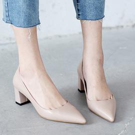 品牌真皮女鞋断码清仓5厘米裸色高跟鞋女尖头粗跟浅口职业单鞋女