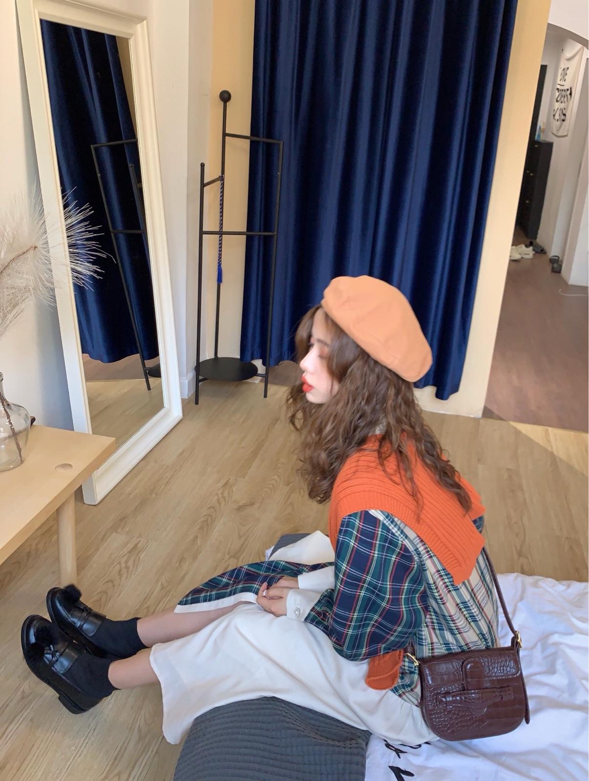 PINKMOON/自制三色格子拼接衬衣连衣裙女 复古女孩bi备秋