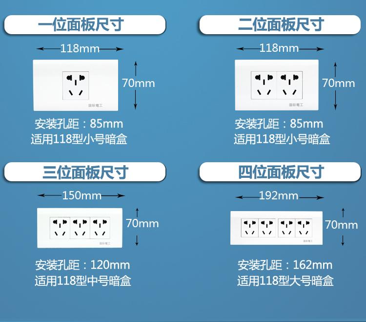 国际电工118型家用开关插座面板10孔 二位六孔电源墙壁 十孔插座