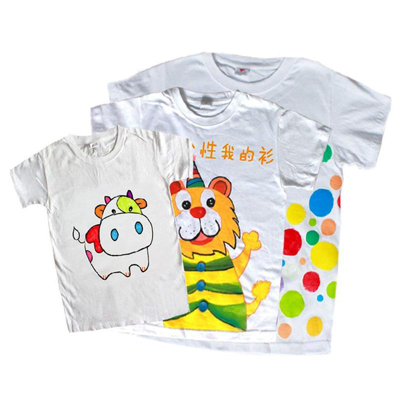 纯棉白色T恤 幼儿园创意涂鸦材料 手工DIY美术用品毕业季亲子彩绘