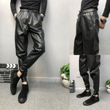 Spiritual guy and feet black stretch leather pants men's deft Reds Houge feet thick pants with the money men