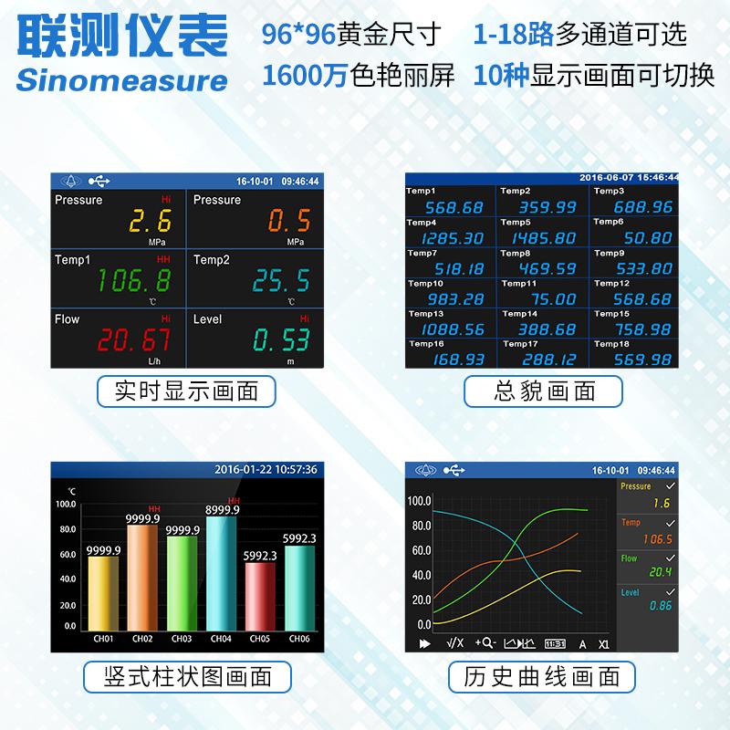 多路无纸记录仪工业级电压电流压力湿度温度巡检仪曲线温升测试仪