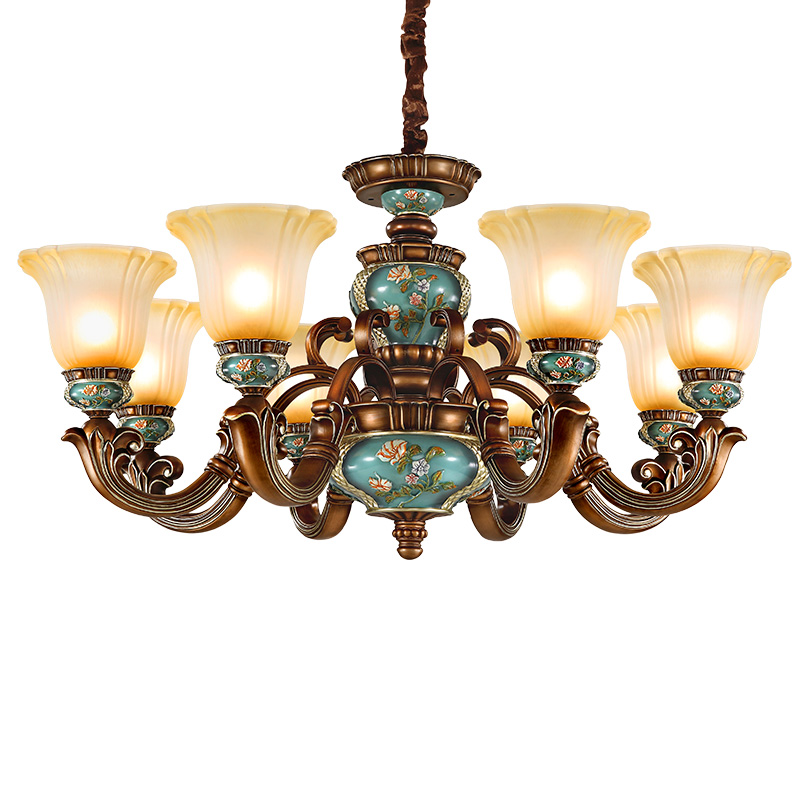 欧式吊灯客厅灯北欧田园卧室灯奢华大气餐厅灯饰创意个姓复古灯具