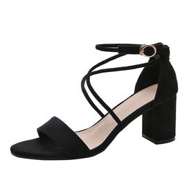 凉鞋女中跟高跟鞋2020新款夏季韩版百搭学生粗跟一字扣带罗马女鞋