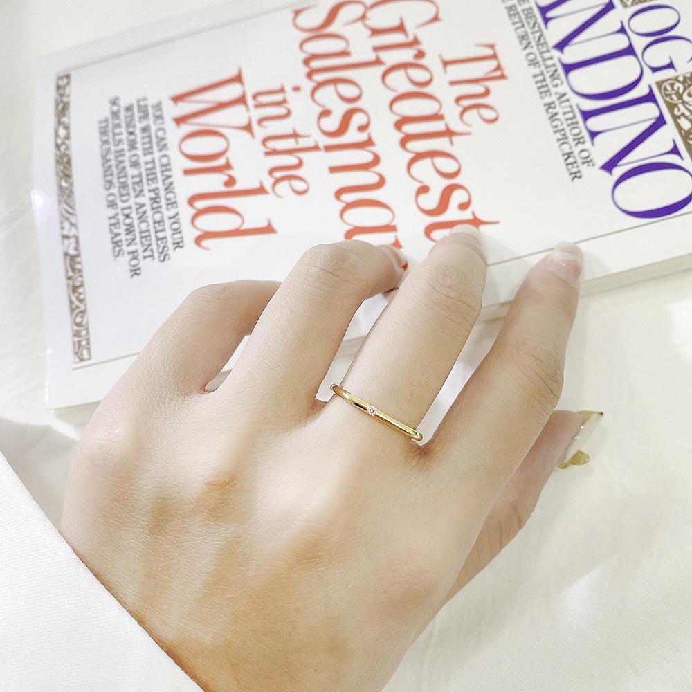 方形戒指女轻奢小众精致大福素圈简约18K黄金小钻石专柜礼盒周生 - 图1