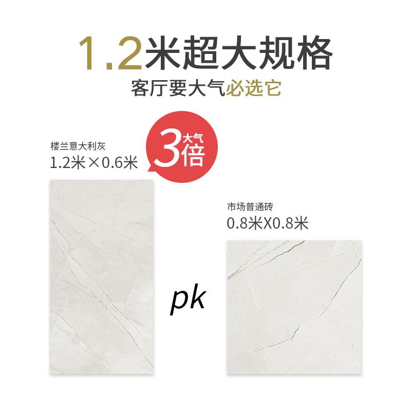 楼兰瓷砖客厅地板砖 糖果釉地砖 1200*600/1000*1000mm 意大利灰