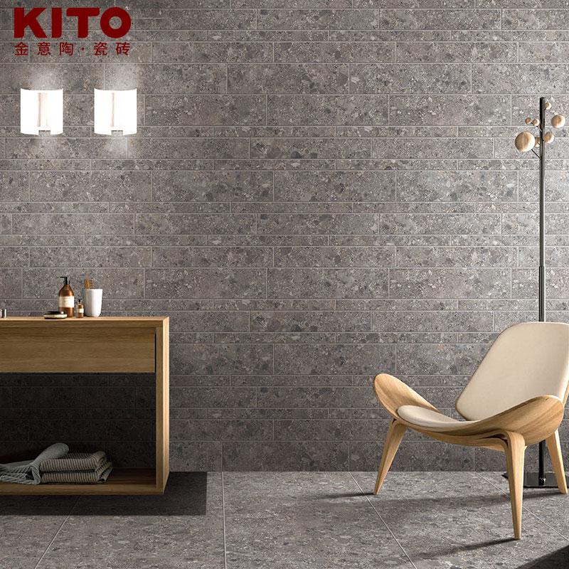 金意陶瓷砖 客厅阳台地砖地板砖墙砖仿古砖卫生间 黑珍珠石