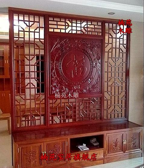 东阳木雕红木家具 中式屏风隔断玄关门 门厅玄关鞋柜隔断屏风花格