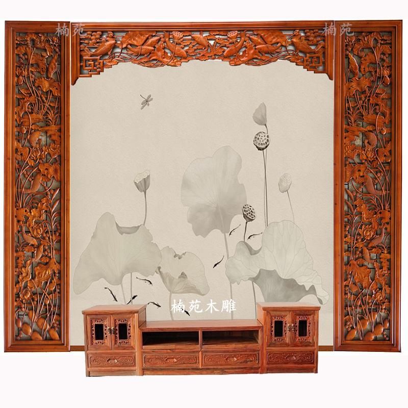 东阳木雕挂件客厅中式电视背景墙壁挂装饰画仿古实木镂空花格隔断