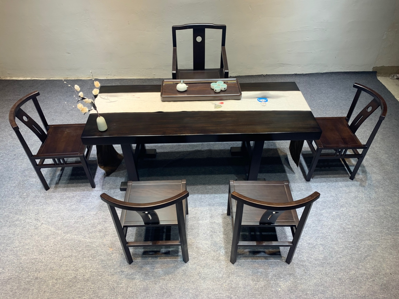 黑金檀奥坎茶桌原木实木茶台大板桌茶板新中式家具简约泡茶桌