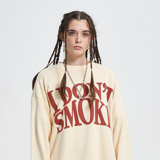 DONSMOKE(DSM) Non-smoking loose long-sleeved apricot terry national tide brand couples original sweater men and women