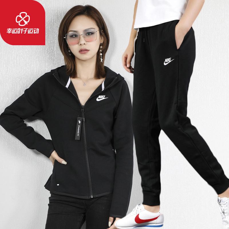 NIKE耐克套装女装2020春夏季新款休闲连帽外套跑步裤子长裤运动服
