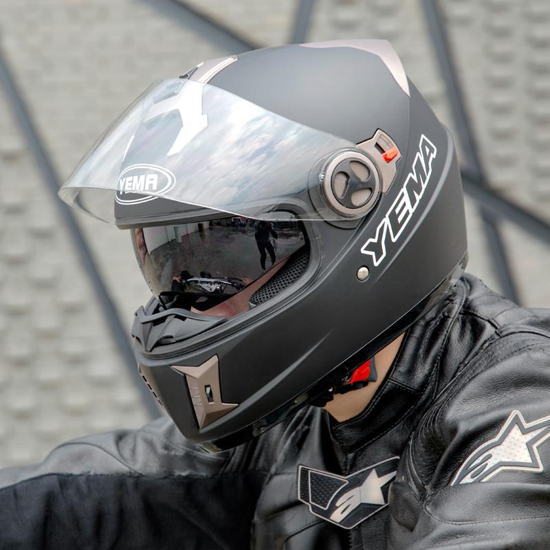 野马电动摩托车头盔男四季防风冬季保暖双镜片机车灰奎盗全盔防雾
