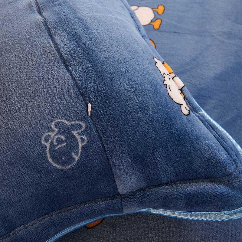 拉链式单枕皮 74cm 48 法兰绒枕套一对装包邮珊瑚绒冬季保暖枕头套