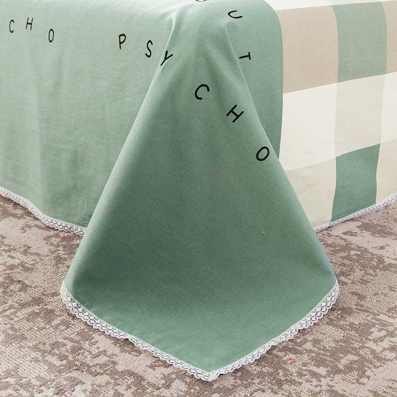 纯棉老粗布床单三件套亚麻枕套加厚式单件学生100全棉儿童一米二主图