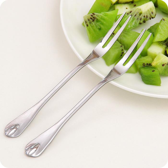 优思居 不锈钢水果叉 韩式创意餐具水果签家用吃水果小叉子甜品叉