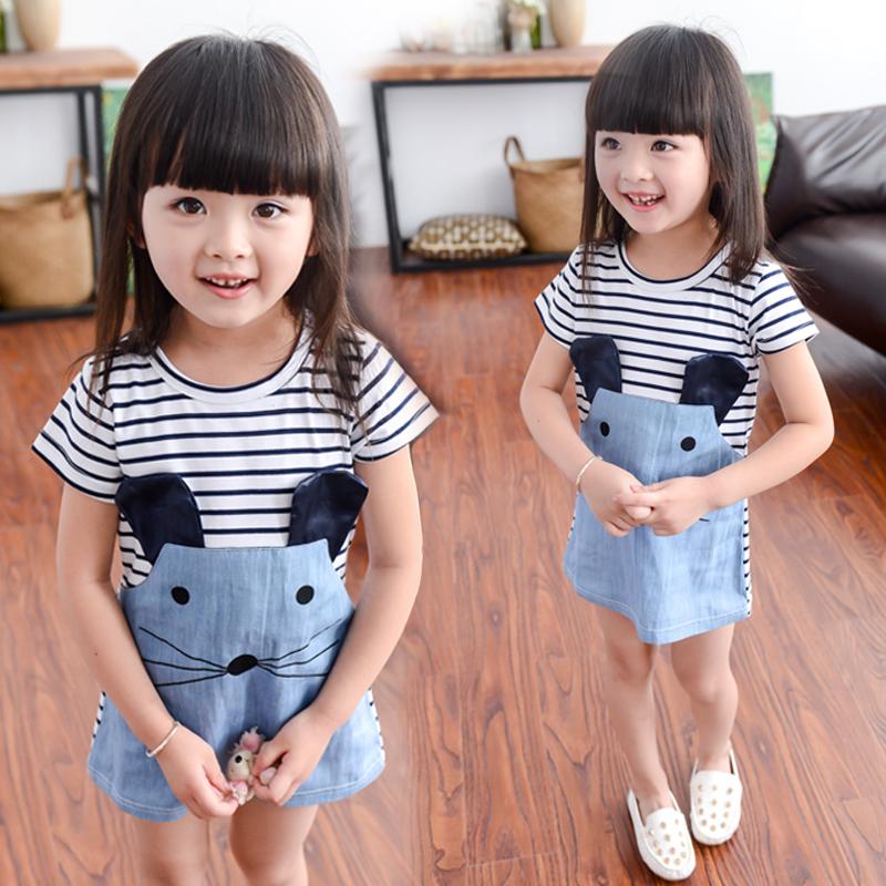 [淘寶網] 女寶寶1夏裝2兒童裝3女孩夏季4條紋5連衣裙6韓版短袖7連衣裙8歲半