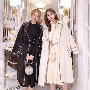 张心子毛呢外套女春秋2020新款流行赫本风加厚双面呢大衣中长款潮