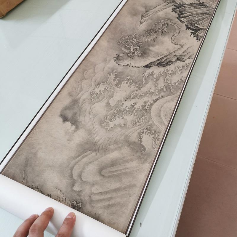 南宋陳容 十龍圖 復古書畫水墨橫幅國畫藝術微噴仿古復制臨摹裝飾