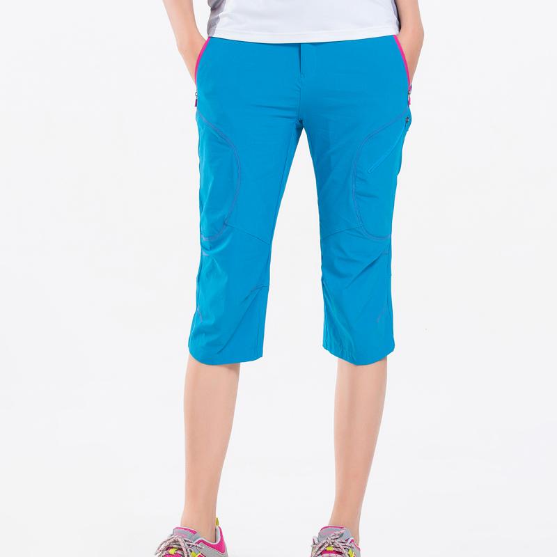 比尔齐户外速干裤女运动宽松登山七分裤女薄款大码显瘦夏弹力短裤