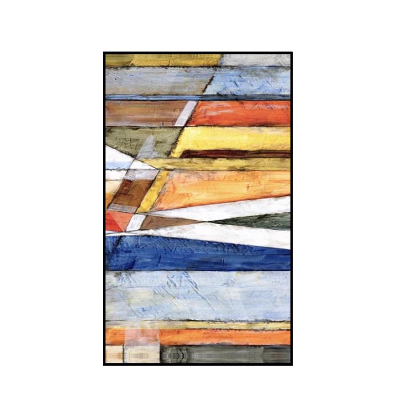 色彩斑斕手繪油畫現代簡約抽象畫玄關豎版裝飾畫過道走廊盡頭掛畫