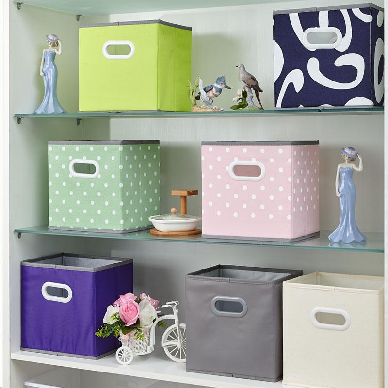 可折叠帆布布艺收纳盒 桌面无盖杂物整理箱 衣柜书架书籍储物盒