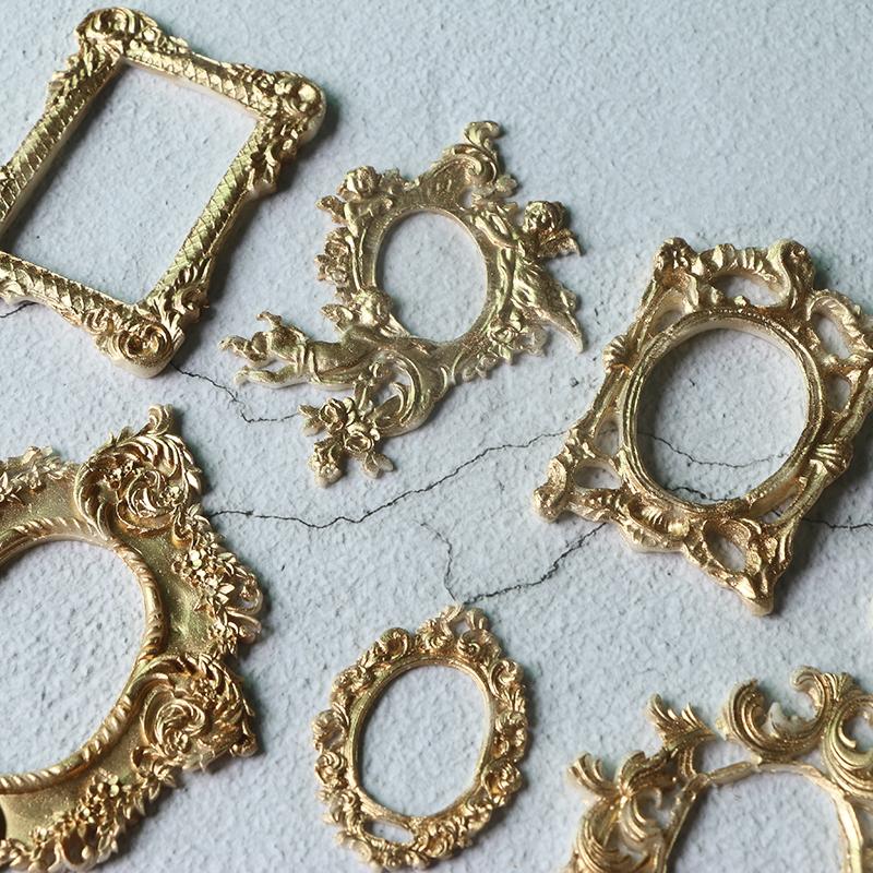 藤蔓纹图腾花边复古相框镜框硅胶模 复古浮雕花朵干佩斯