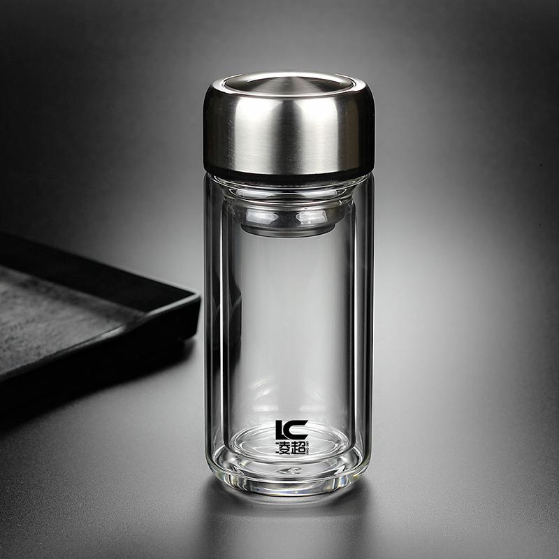 便携小容量双层玻璃杯 迷你茶杯带盖水杯子男女泡茶200ml矮胖大口主图