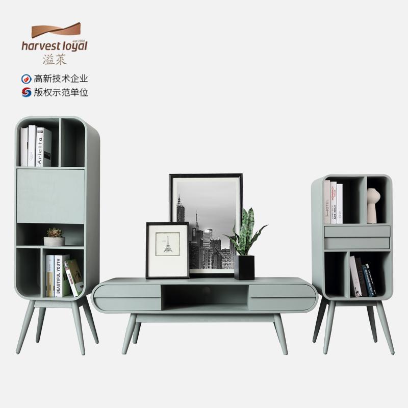 北歐實木電視櫃現代簡約茶几傢俱組合套裝小戶型客廳儲物落地櫃子