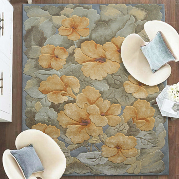 进口新西兰羊毛地毯新中式手工定制定做加厚客厅卧室别墅炕毯满铺