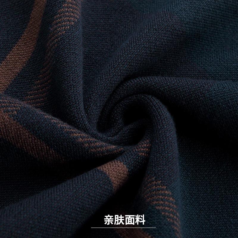 冬季中老年男士针织衫圆领套头毛衣休闲男装中年条纹爸爸秋装上衣