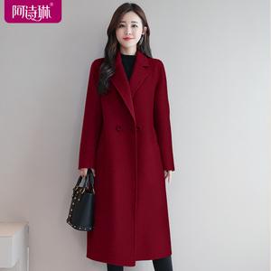红色双面羊绒大衣女式羊毛呢子中长款2020新款双面呢毛呢外套秋冬