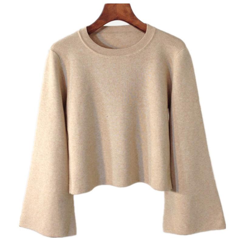 2019秋冬高腰短款纯色毛衣宽松显瘦喇叭袖厚打底衫套头针织衫上衣