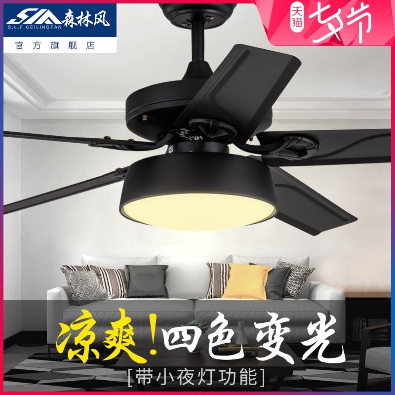 森林風黑色鐵葉客廳電風扇燈 餐廳吊扇燈 美式負離子燈扇電扇燈