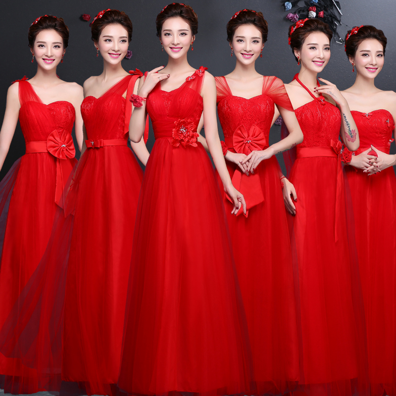 Buy 2016 Autumn New Red Color Bridesmaid Dress Long