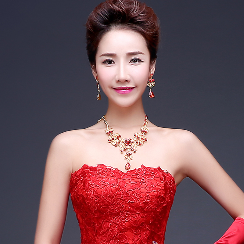 2016 New Bridal Jewelry Red Rhinestone Necklace Earring Suit Wedding Dress With Accessories In Price On Alibaba