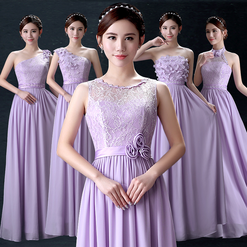 2016 New Spring And Summer Bridesmaid Dress Long Section Of Purple Dresses Sister Group Annual Meeting Banquet Women