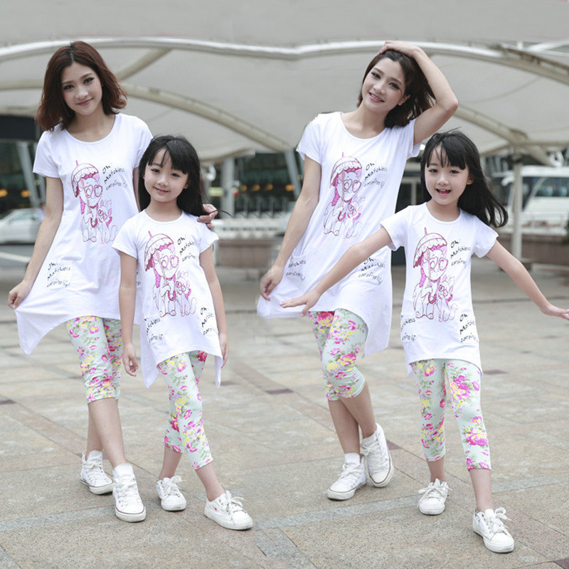 014697d3b88 Buy 2016 new summer korean mother and daughter mother and a paternity suit  cotton casual sports suit family fitted tide in Cheap Price on m.alibaba.com