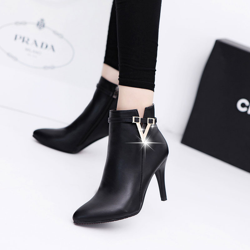 683e03432d85 2016 spring and autumn wild high heels shoes fine with female boots boots  martin boots single boots naked boots shoes england pointed head