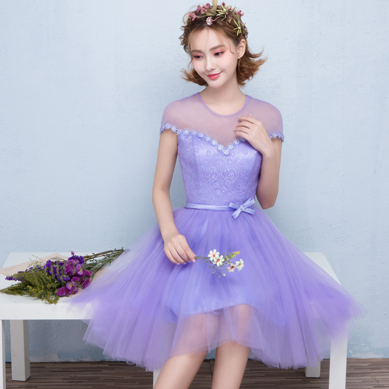 Buy 2016 new purple bridesmaid dress short paragraph bride wedding ...