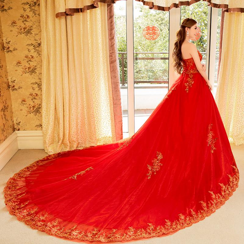c667e6a6c274 Buy 2016 summer new red wedding dress big yards slim was thin lace bra long  tail bride wedding dress women in Cheap Price on m.alibaba.com