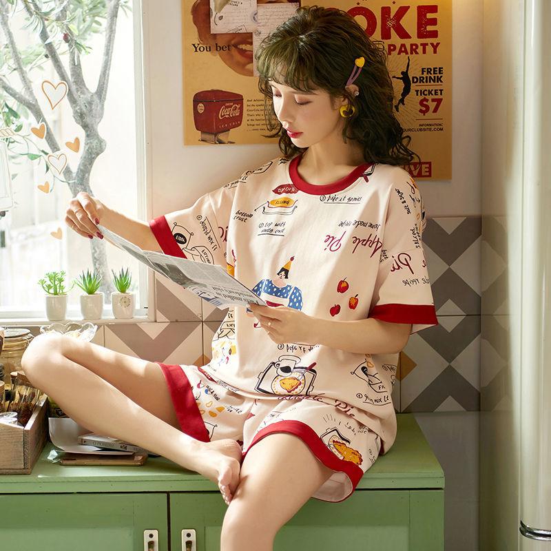 2021新款睡衣女夏季薄款纯棉短袖网红爆款卡通可爱家居服两件套装
