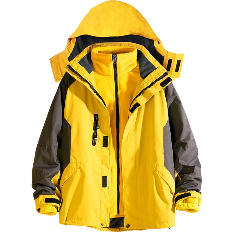 户外潮牌冲锋衣女三合一可拆卸加绒两件套大码防寒外套登山服装男